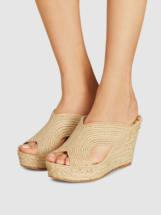 CARRIE FORBES - Lina Open Toe Raffia Wedge Sandals