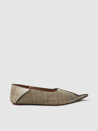 Marni - Snake Effect Leather Flats