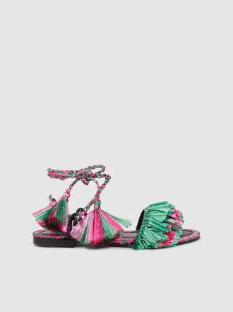 AVEC MODÉRATION - Patmos Fringed Raffia Sandals