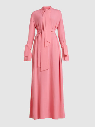 LAYEUR - Baxter Tie Neck Belted Crepe Maxi Dress