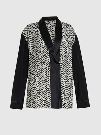 Haider Ackermann - Printed Crepe Tie-Neck Double-Button Jacket