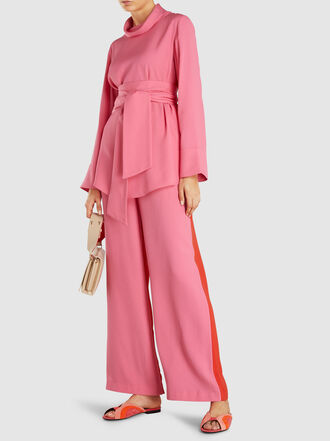 LAYEUR - Evelyn Two-Tone Wide-Leg Viscose-Blend Trousers