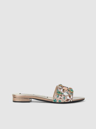 N°21 - Jewel Embellished Embroidered Leather Mules