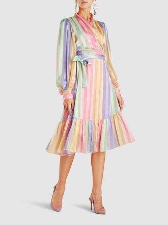 Stine Goya - Glenda Rainbow Striped Satin Wrap Top