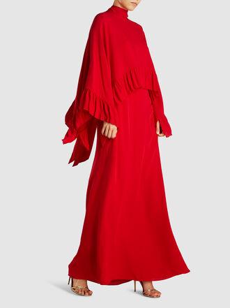 Valentino - Mock Neck Overlay Silk Cape Gown