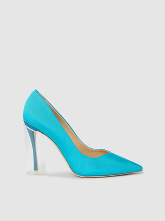 Rosie Assoulin - Turquoise Plexi Heel Leather Pumps