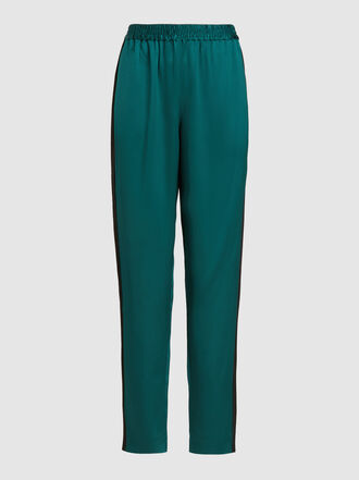 LAYEUR - Anna Mary Side Stripe Tapered Satin Trousers