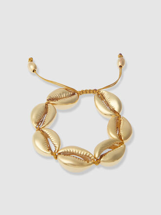 Tohum - Large Gold-Tone Brass Puka Shell Bracelet