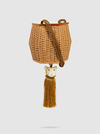 WAI WAI - Fauna Tiger-Charm Wicker Cross-Body Bag