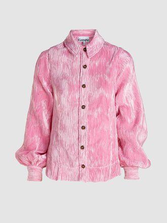 Ganni - Balloon-Sleeve Crinkled Satin Shirt
