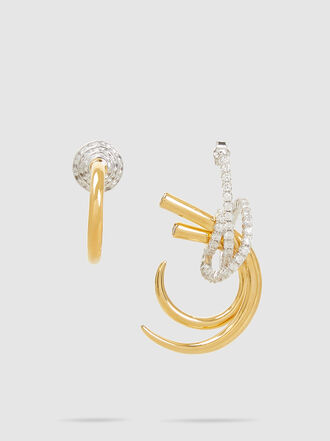 RYAN STORER - Mismatched Crystal-Embellished Gold-Tone Earrings