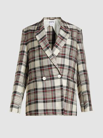 HOPE - Soft Check Double Breasted Blazer