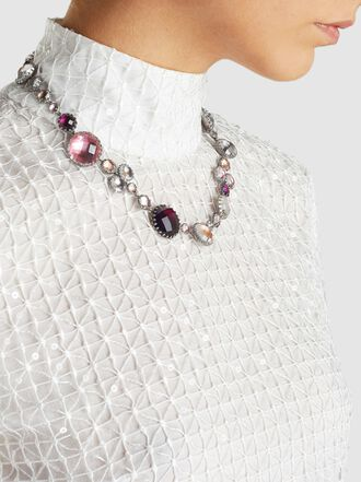 Larkspur & Hawk - Sadie Bubble Rivière White and Purple Quartz Necklace