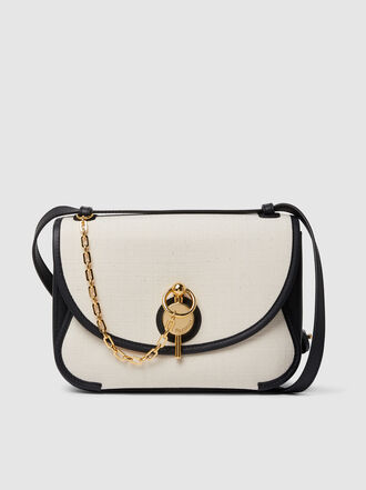 JW Anderson - Keyts Linen-Panelled Leather Shoulder Bag