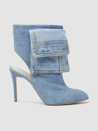 Natasha Zinko - Washed Denim Pocket Detail Cotton Ankle Boots