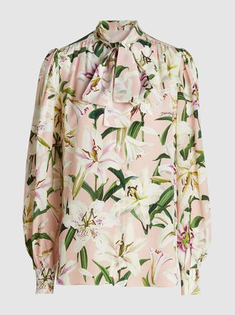 Dolce & Gabbana - Lily-Print Pussy-Bow Silk Blouse