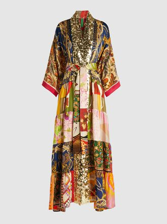 RIANNA + NINA - Sequined Vintage Silk Maxi-Length Kimono