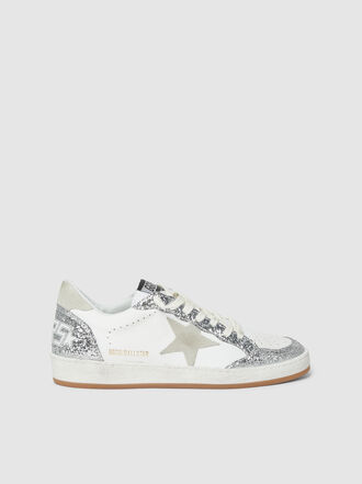 Golden Goose Deluxe Brand - Silver Glitter Ball Star Leather Sneakers