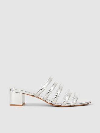 Mansur Gavriel - Multi Strap Heeled Metallic Leather Sandals