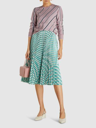 Cédric Charlier - Pleated Gingham Checkered Eco-Leather Midi Skirt