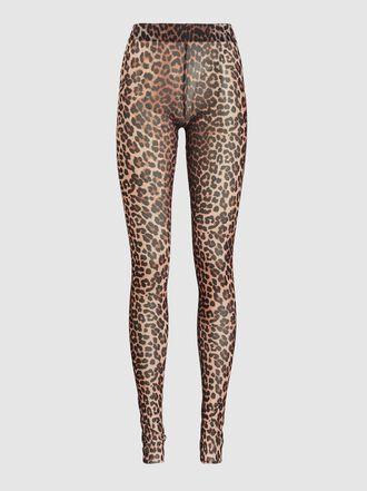 Ganni - Leopard Print Mesh Leggings