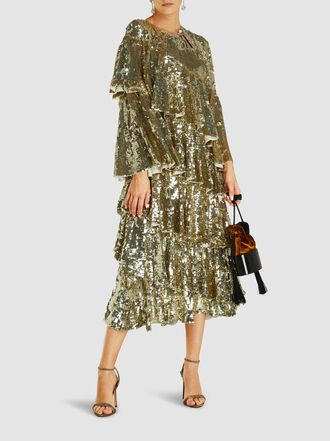 Osman - Diaz Tiered Sequinned Gown