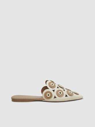 MERCEDES CASTILLO - Kris Eyelet-Embellished Leather Slippers