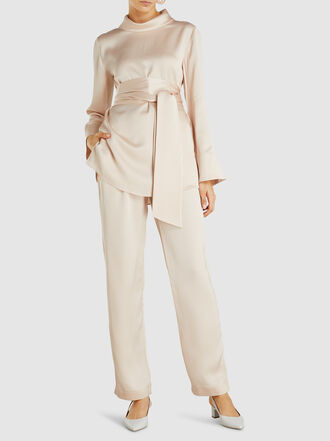 LAYEUR - Emma Slouch-Collar Tie-Waist Viscose-Blend Top
