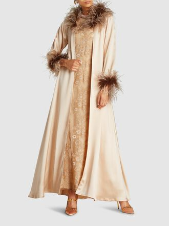 Alison Brett - Feather Trim Silk Robe