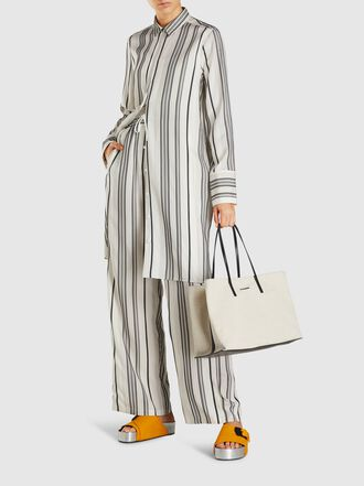 Jil Sander - Big Shopper Canvas and Leather Tote