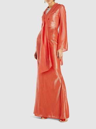 SAFiYAA - Wrap-Effect Lamé Gown