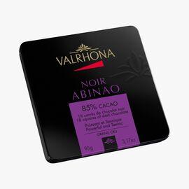 Box of 18 Abinao squares, dark chocolate 85 % Valrhona