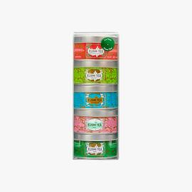 Assortment of 5 miniature tins of flavoured green teas Kusmi Tea