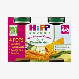 4 small jars of vegetable puree HiPP