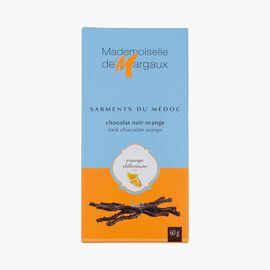 Dark chocolate twigs with natural orange flavouring  Mademoiselle de Margaux