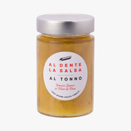 Al Tonno, yellow tomatoes and tuna Al dente la salsa