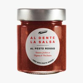 Al Pesto Rosso, sundried tomatoes and whole pine nuts Al dente la salsa