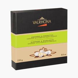 Equinoxe gift box, almonds and hazelnuts coated with 23.5 % hazelnut milk chocolate Valrhona