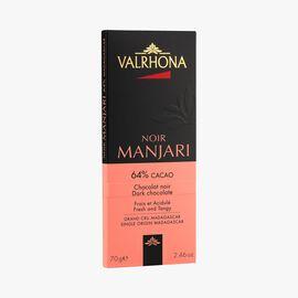 Manjari bar, dark chocolate (64 % minimum cocoa, pure cocoa butter) Valrhona