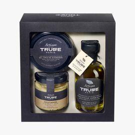 Discovery box with black truffle-flavoured olive oil, Guérande sea salt with summer truffle and summer truffle mustard  Artisan de la truffe