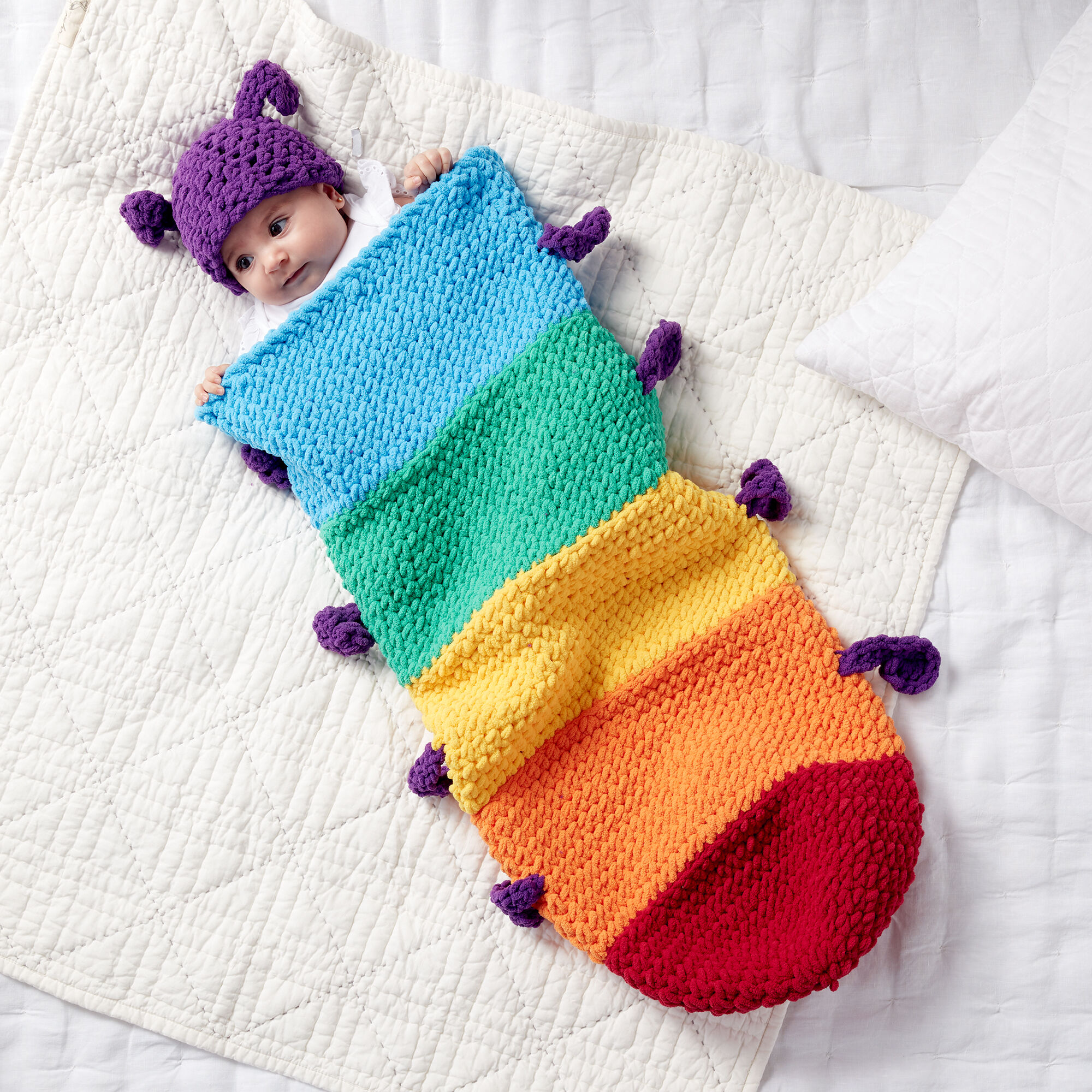 Easy Caterpillar Crochet Snuggle Sack