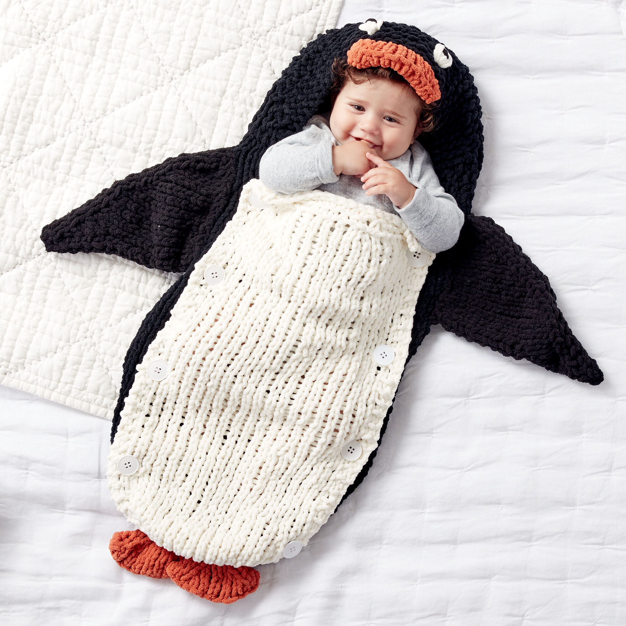 Easy Knit Penguin Baby Sack