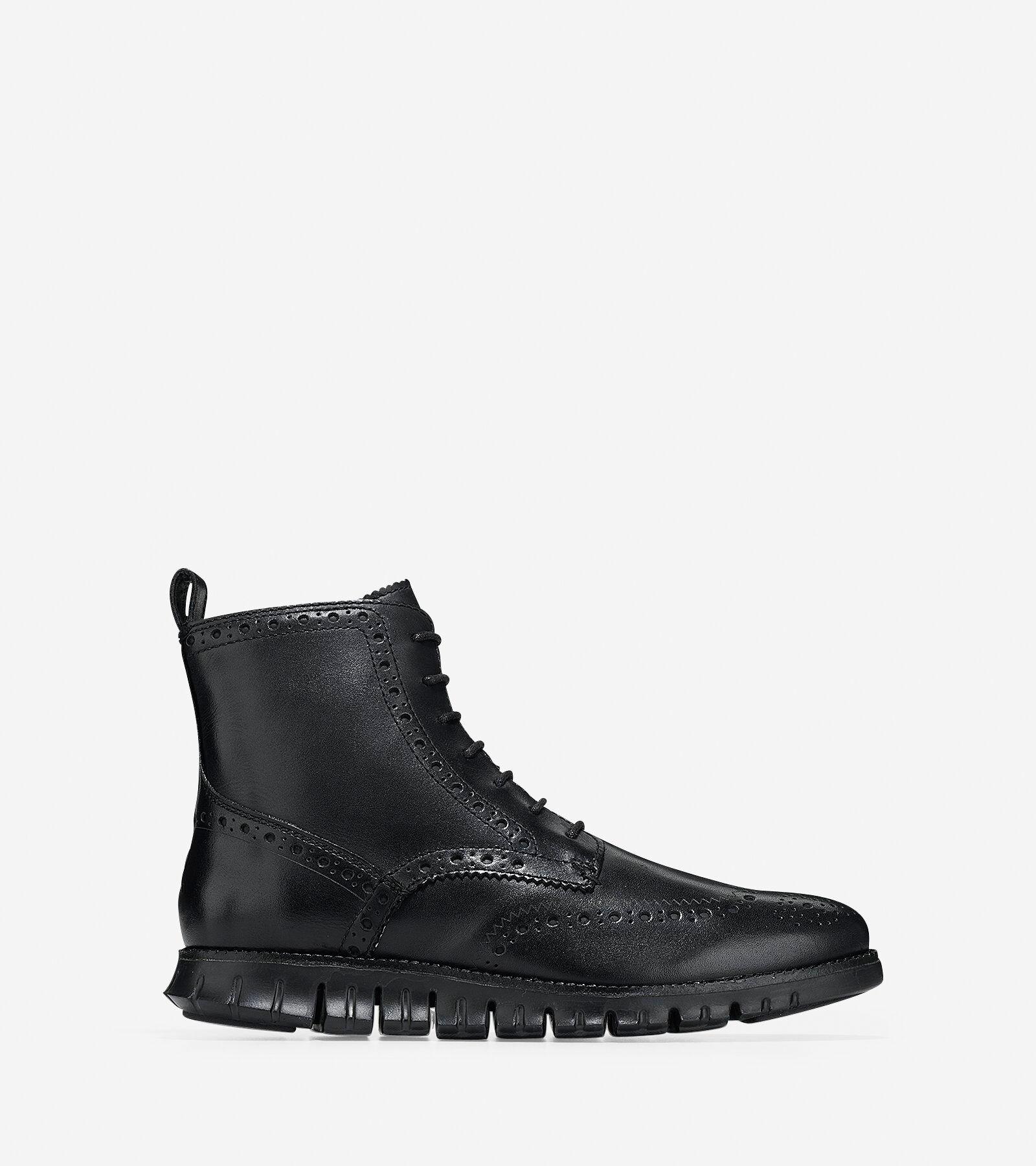 Men's ZEROGRAND Wingtip Boots in Black