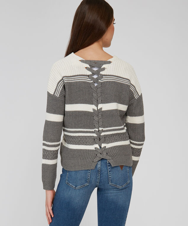 2404019979 stripe pullover with lace up back - wb