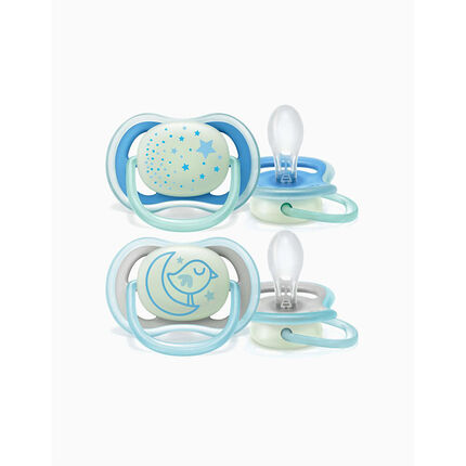Set de 2 Sucettes en silicone Nuit 6/18 mois - Bleu / Jaune