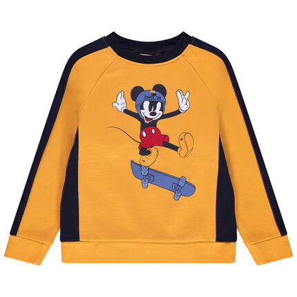 Sweat en molleton bicolore print Mickey Disney 4 ans jaune moyen