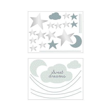 Stickers muraux nuage Céleste vert