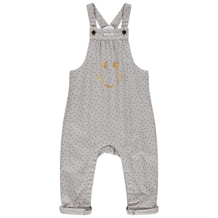 Salopette longue imprimée Smiley Baby pour bébé fille 3 mois gris clair