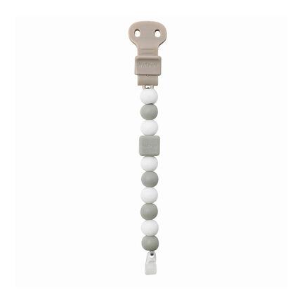 Attache-sucette avec clip ajustable Lapidou – Gris/blanc