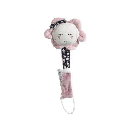 Attache-sucette - Miss Fleur de Lune rose/blanc